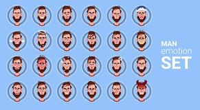 Mannelijke Verschillende de Emotie Vastgestelde Avatar van het profielpictogram, de Inzameling van het het Portretgezicht van het Stock Foto