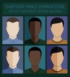 Mannelijke vlakke avatars Stock Foto's