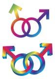 Mannelijke Vrolijke Geslachtssymbolen Ineengestrengelde Illustratie Stock Foto's