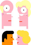 Mannelijke/vrouwelijke hoofden Stock Foto's