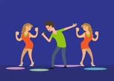 Mannelijke Zanger en de Dansende Dansers van de Meisjesventilator in Club stock illustratie
