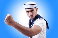 Mannelijke zeeman in studio Stock Afbeelding