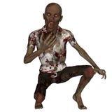 Mannelijke Zombie die Etend Menselijke Hersenen knielen Royalty-vrije Stock Foto's
