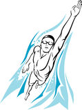 Mannelijke Zwemmer Freestyle vector illustratie