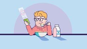 Mannen äter havregröt Konstillustration stock illustrationer