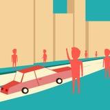 Mannen önskar att fånga en taxi Vänta på bilen vektor illustrationer