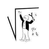 Mannen arbetar ett problem, i att använda för algebra som är fyrkantigt, rotar formel Vektorbegreppsbild Royaltyfri Bild