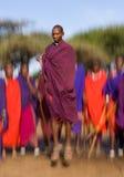 Mannen av en stamMasai visar rituella hopp Royaltyfria Bilder