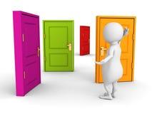 mannen 3d gör svårt val med färgrika dörrar Royaltyfri Fotografi