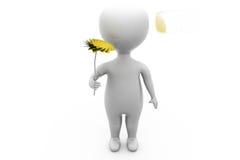 mannen 3d ger blommabegrepp Arkivbild