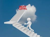 mannen 3d klättrar stegen av den nästa nivån Arkivfoto