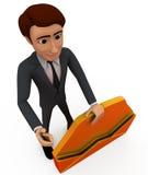 mannen 3d med öppnat packar begrepp in Arkivbild