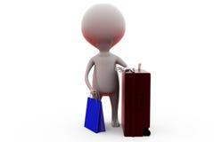 mannen 3d shoppar bagagebegrepp Royaltyfria Bilder
