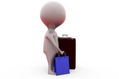 mannen 3d shoppar bagagebegrepp Royaltyfri Bild