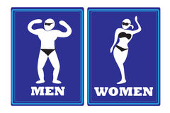 Mannen de tekens van het vrouwentoilet Stock Foto's