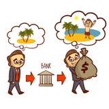Mannen drömmer om semesteraffärsmannen Gets ett banklån vektor illustrationer