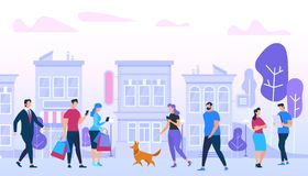 Mannen en Vrouw die in Stad lopen Stedelijke Levensstijl stock illustratie