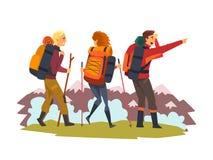 Mannen en vrouw, toeristen in bergen wandelen, de zomeravontuur en exploratie vectorillustratie die samen reizen vector illustratie