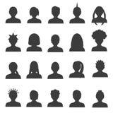 Mannen en vrouwen hoofd eenvoudige avatar pictogrammen geplaatst eps10 Royalty-vrije Stock Afbeelding