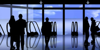 Mannen en vrouwen in luchthaven stock illustratie