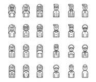Mannen en vrouwenavatars vectorpictogramreeks Royalty-vrije Stock Afbeeldingen