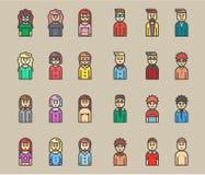 Mannen en vrouwenavatars vlakke vectorpictogramreeks Stock Foto