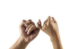 Mannen en Vrouwenhandenbelofte vriendschap van generaties Geïsoleerdj op witte achtergrond royalty-vrije stock foto