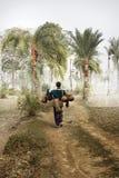mannen för bondefältlivstid krattar sugrörbyn Royaltyfria Bilder