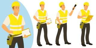 Mannen för byggnadsinspektören poserar uppsättningen för infographics eller annonsering vektor illustrationer