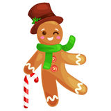 Mannen för julkakapepparkakan dekorerade med isläggningdans och att ha den roliga för matvektorn för xmas söta illustrationen Royaltyfri Fotografi