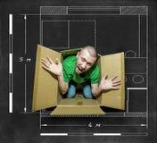 Mannen försöker att fly från den nära asken Arkivfoton