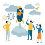 Mannen flyger en raket Begreppet av ledarskap i en grupp av anst?llda Lyckad start stock illustrationer