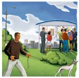 Mannen går en hund En grupp människor på ett informationsbräde som visar ett konstruktionsplan Fastighetsmäklare och köpare digit vektor illustrationer