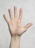 Mannen gömma i handflatan handen Arkivfoto