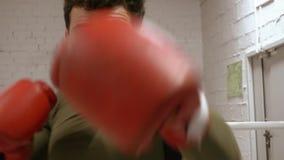 Mannen gör boxas utbildning till övande handstansmaskiner i handskar i idrottshall stock video