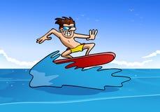 Mannen gör skraj surfa vektor illustrationer