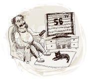 Mannen håller ögonen på TV (vektorn) Arkivbilder