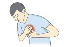 Mannen har tecken av hjärtinfarkt Royaltyfri Foto