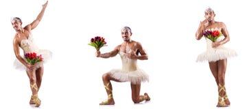 Mannen i balettballerinakjol Arkivbild