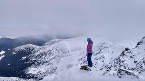 Mannen i blå hjälm och rosa färger klår upp mot en bakgrund av snö-korkade berg royaltyfri bild