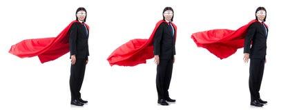 Mannen i den röda räkningen som isoleras på vit Fotografering för Bildbyråer