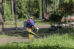 Mannen i en skyddande dräkt och ett specialt förkläde med en maskering, mejar gräset med en bensingräsklippningsmaskin begreppet  arkivfoto