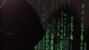 Mannen i huven arbetar på datoren och vänder plötsligt omkring Framsidan täckas med en maskering stock video