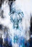 Mannen i mystikerbrand och dekorativa drakar, blyertspenna skissar på papper, blå vintereffekt Royaltyfri Fotografi