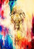 Mannen i mystikerbrand och dekorativa drakar, blyertspenna skissar på papper, tappningeffekt Royaltyfria Bilder