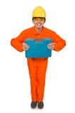 Mannen i orange overaller på vit Arkivfoto