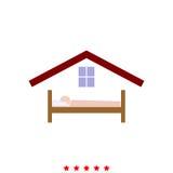 Mannen i sänghotell är det symbolen royaltyfri illustrationer