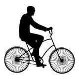 Mannen i svarta exponeringsglas som rider en cykel, lägenhetstil Royaltyfri Fotografi