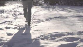 Mannen kör till och med den djupa snön, långsam mo arkivfilmer