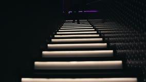Mannen klättrar trappan i en nattklubb arkivfilmer